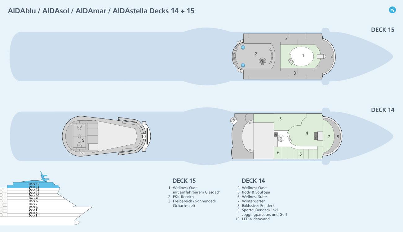 Deckspl 228 Ne Amp Decksgrundrisse Von Aidasol Ansehen Aida Kreuzfahrten