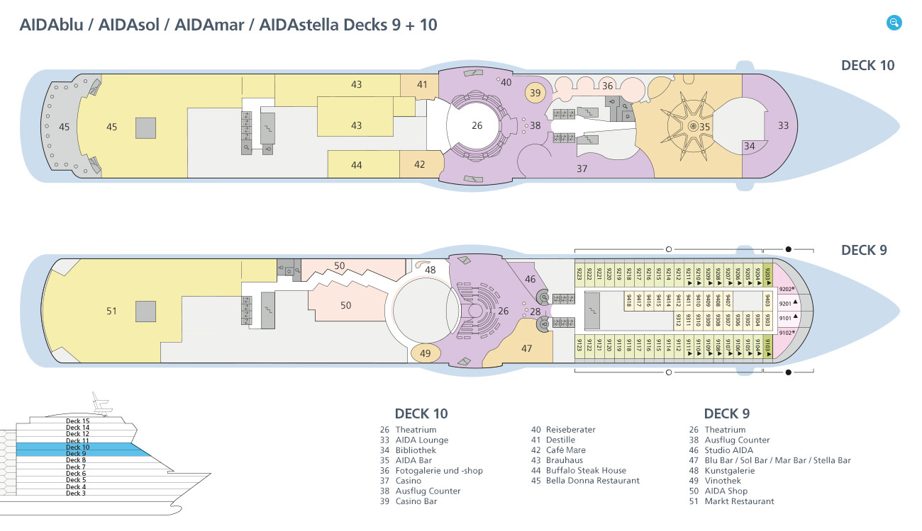 AIDAdiva deck plan | CruiseMapper